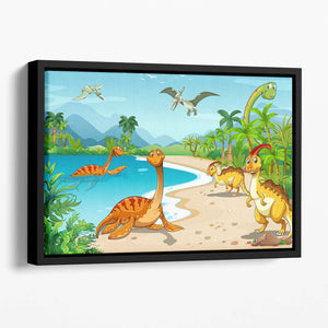 Dinosaurs living on the beach Floating Framed Canvas