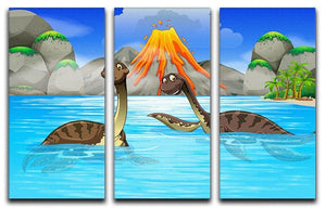 Dinosaurs swimming in the lake 3 Split Panel Canvas Print - Canvas Art Rocks - 1
