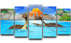 Dinosaurs swimming in the lake 5 Split Panel Canvas  - Canvas Art Rocks - 1