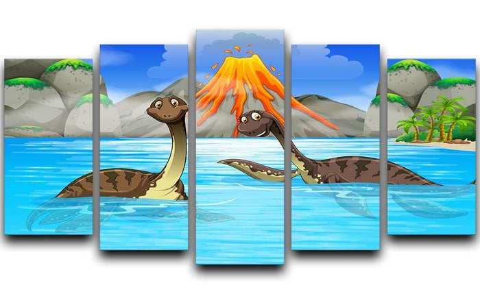 Dinosaurs swimming in the lake 5 Split Panel Canvas