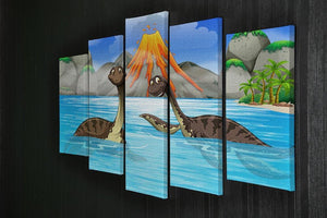 Dinosaurs swimming in the lake 5 Split Panel Canvas - Canvas Art Rocks - 2