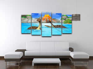 Dinosaurs swimming in the lake 5 Split Panel Canvas - Canvas Art Rocks - 3