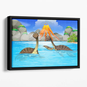 Dinosaurs swimming in the lake Floating Framed Canvas