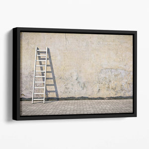 Dirty grunge wall with ladder Floating Framed Canvas
