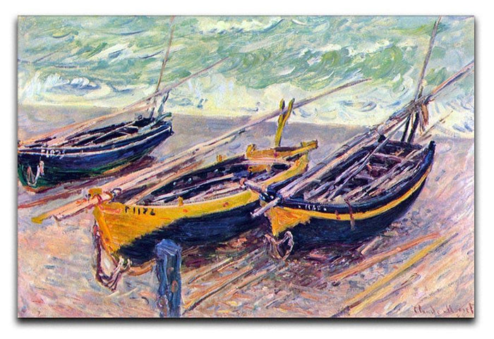 Dock of etretat three fishing boats by Monet Canvas Print or Poster