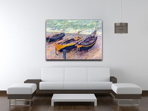 Dock of etretat three fishing boats by Monet Canvas Print & Poster - Canvas Art Rocks - 4