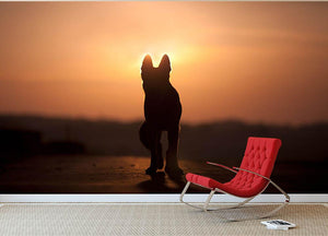 Dog backlight silhouette in sunset Wall Mural Wallpaper - Canvas Art Rocks - 2