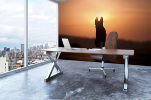 Dog backlight silhouette in sunset Wall Mural Wallpaper - Canvas Art Rocks - 3