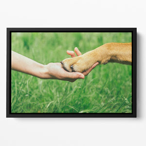 Dog paw and human hand are doing handshake Floating Framed Canvas - Canvas Art Rocks - 2