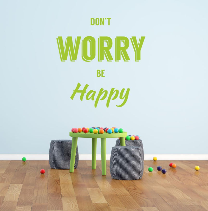 Don't Worry Be Happy Wall Decal - Canvas Art Rocks - 1