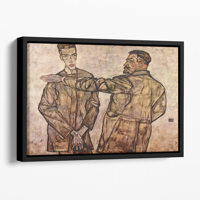 Double Portrait of Heinrich Bensch and his Son Otto by Egon Schiele Floating Framed Canvas