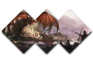 Dragon 4 Square Multi Panel Canvas  - Canvas Art Rocks - 1