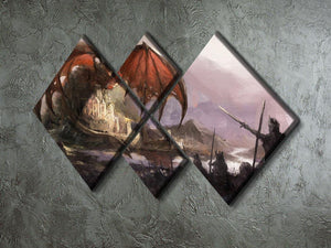 Dragon 4 Square Multi Panel Canvas  - Canvas Art Rocks - 2