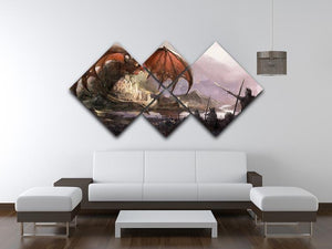 Dragon 4 Square Multi Panel Canvas  - Canvas Art Rocks - 3