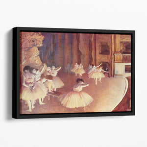 Dress rehearsal of the ballet on the stage by Degas Floating Framed Canvas