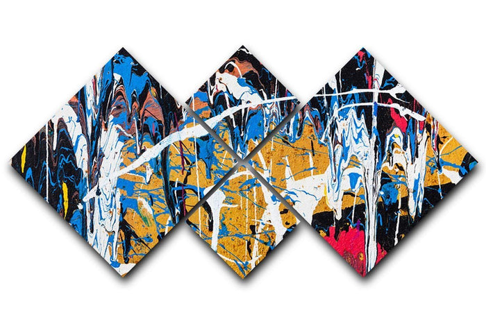 Dripping paint graffiti 4 Square Multi Panel Canvas