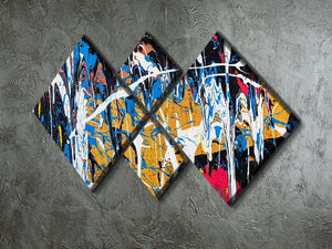 Dripping paint graffiti 4 Square Multi Panel Canvas  - Canvas Art Rocks - 2