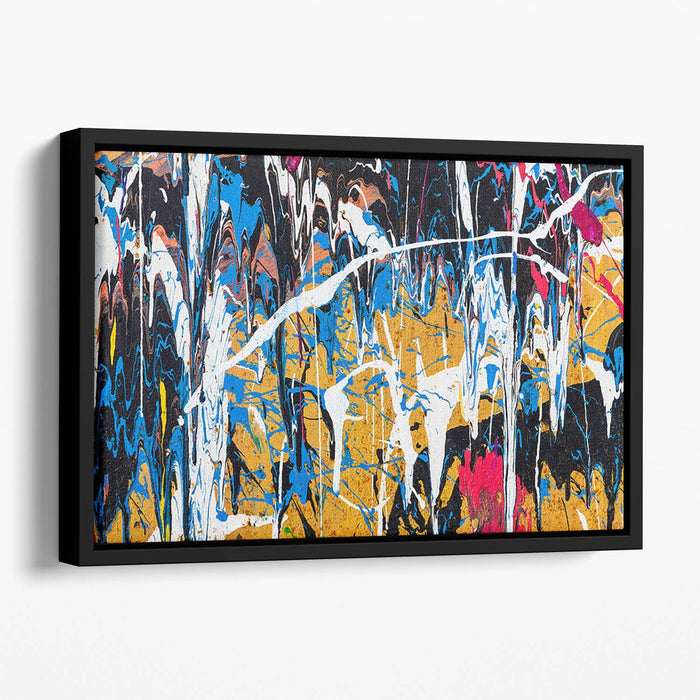 Dripping paint graffiti Floating Framed Canvas