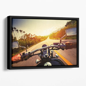 Driver riding motorbike Floating Framed Canvas