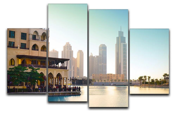 Dubai downtown at sunset 4 Split Panel Canvas