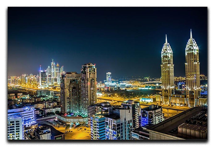 Dubai downtown night scene Canvas Print or Poster