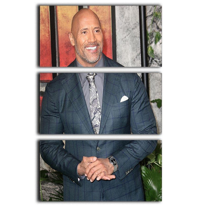 Dwayne The Rock Johnson 3 Split Panel Canvas Print - Canvas Art Rocks - 1