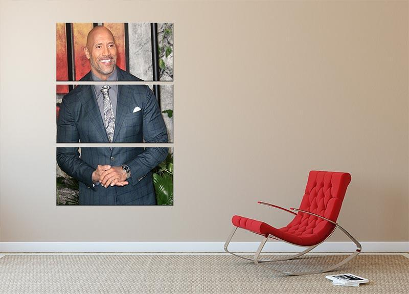 Dwayne The Rock Johnson 3 Split Panel Canvas Print - Canvas Art Rocks - 2