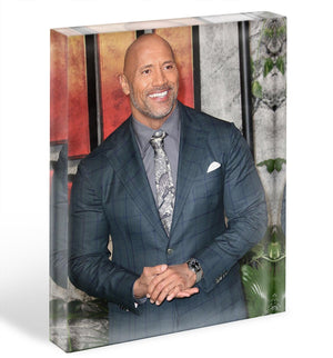 Dwayne The Rock Johnson Acrylic Block - Canvas Art Rocks - 1