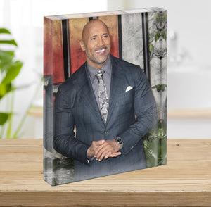 Dwayne The Rock Johnson Acrylic Block - Canvas Art Rocks - 2