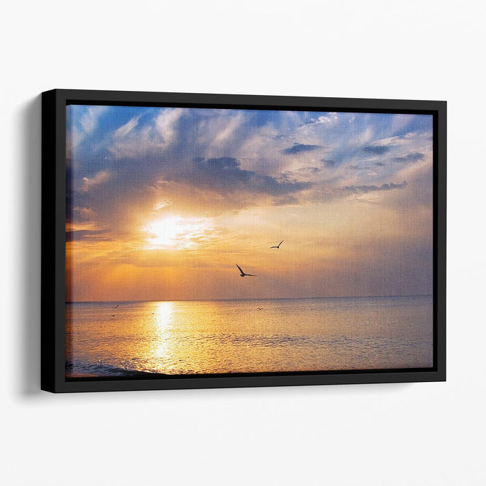 Early morning sunrise over the sea and a birds Floating Framed Canvas