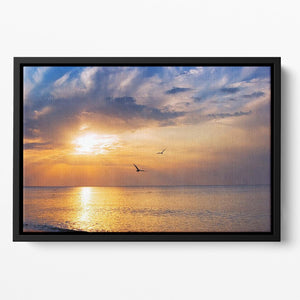 Early morning sunrise over the sea and a birds Floating Framed Canvas - Canvas Art Rocks - 2