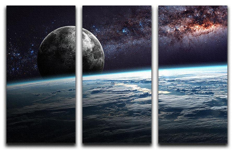 Earth Moon and Stars 3 Split Panel Canvas Print - Canvas Art Rocks - 1