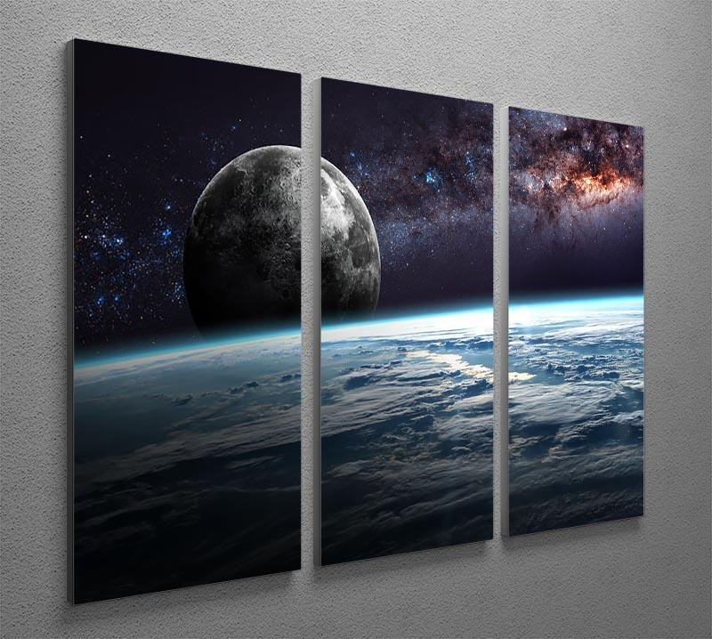 Earth Moon and Stars 3 Split Panel Canvas Print - Canvas Art Rocks - 2