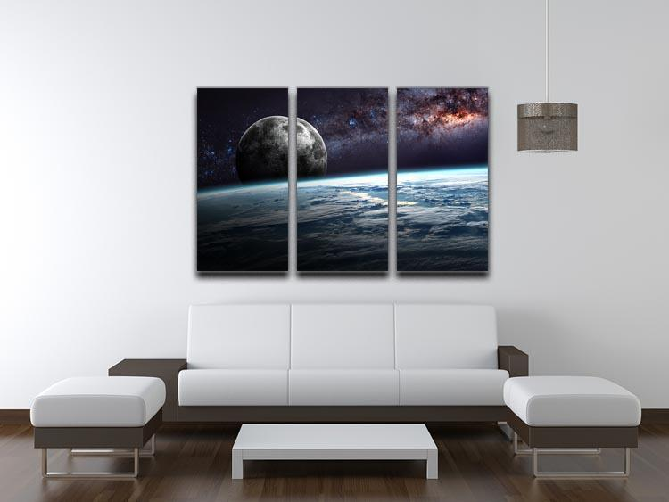 Earth Moon and Stars 3 Split Panel Canvas Print - Canvas Art Rocks - 3