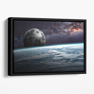 Earth Moon and Stars Floating Framed Canvas