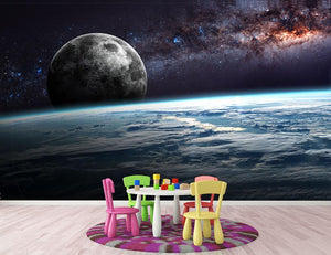 Earth Moon and Stars Wall Mural Wallpaper - Canvas Art Rocks - 3