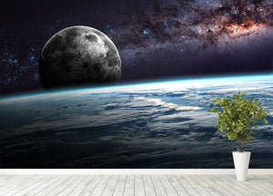 Earth Moon and Stars Wall Mural Wallpaper - Canvas Art Rocks - 4