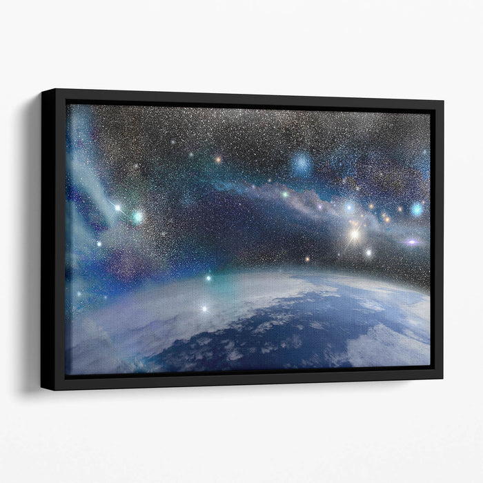 Earth in a Cosmic Cloud Floating Framed Canvas