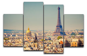 Eiffel Tower Sunny Day 4 Split Panel Canvas  - Canvas Art Rocks - 1