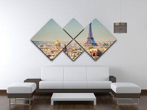 Eiffel Tower Sunny Day 4 Square Multi Panel Canvas  - Canvas Art Rocks - 3
