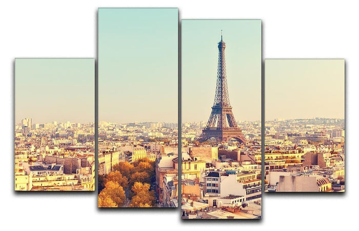 Eiffel tower at sunset 4 Split Panel Canvas