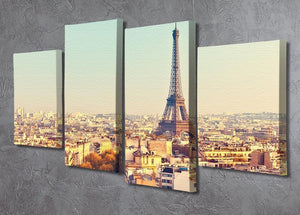 Eiffel tower at sunset 4 Split Panel Canvas  - Canvas Art Rocks - 2