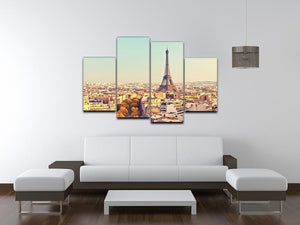 Eiffel tower at sunset 4 Split Panel Canvas  - Canvas Art Rocks - 3