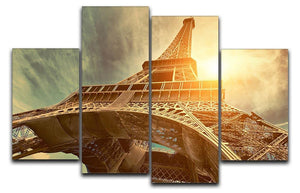 Eiffel tower under sun light 4 Split Panel Canvas  - Canvas Art Rocks - 1