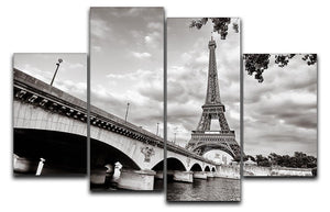 Eiffel tower view from Seine river 4 Split Panel Canvas  - Canvas Art Rocks - 1