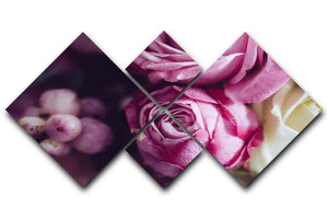 Elegant bouquet of pink and white roses 4 Square Multi Panel Canvas  - Canvas Art Rocks - 1