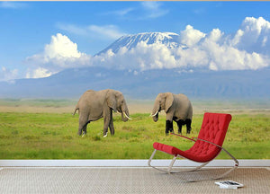 Elephant with Mount Kilimanjaro in the background Wall Mural Wallpaper - Canvas Art Rocks - 2