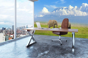 Elephant with Mount Kilimanjaro in the background Wall Mural Wallpaper - Canvas Art Rocks - 3