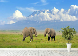 Elephant with Mount Kilimanjaro in the background Wall Mural Wallpaper - Canvas Art Rocks - 4