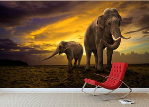 Elephants family on sunset Wall Mural Wallpaper - Canvas Art Rocks - 2
